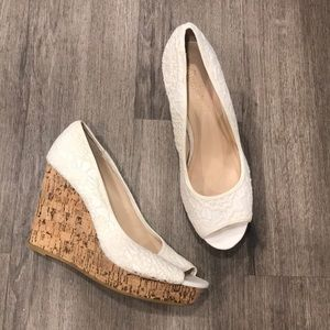 Altar'd State Cream Lace Wedges